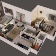 Provident Capella Floor Plan 880 Sqft. 2 BHK