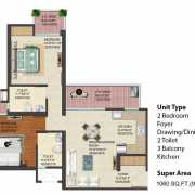 JM Florence Floor Plan 1060 Sqft. 2 BHK