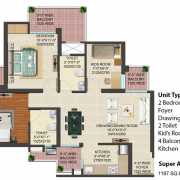 JM Florence Floor Plan 1197 Sqft. 2 BHK