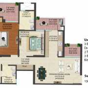 JM Florence Floor Plan 1390 Sqft. 3 BHK