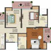 JM Florence Floor Plan 1580 Sqft. 3 BHK