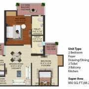 JM Florence Floor Plan 950 Sqft. 2 BHK