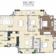 Vipul Aarohan Floor Plan 2910 Sqft. 3 BHK + Family+ SQ