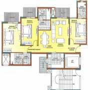ATS Dolce Floor Plan 1164 Sqft. 3 BHK
