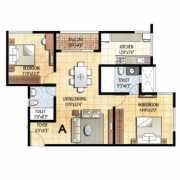 Prestige Falcon City Floor Plan 1204 Sqft. 2 BHK