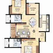 Prestige Falcon City Floor Plan 1366 Sqft. 2.5 BHK