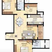 Prestige Falcon City Floor Plan 1370 Sqft. 2.5 BHK