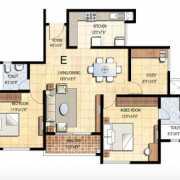 Prestige Falcon City Floor Plan 1375 Sqft. 2.5 BHK