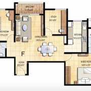 Prestige Falcon City Floor Plan 1379 Sqft. 2.5 BHK