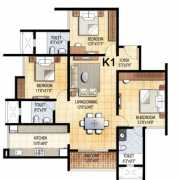 Prestige Falcon City Floor Plan 1591 Sqft. 3 BHK