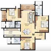 Prestige Falcon City Floor Plan 1788 Sqft. 3 BHK