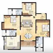 Prestige Falcon City Floor Plan 1800 Sqft. 3 BHK