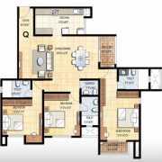 Prestige Falcon City Floor Plan 1861 Sqft. 3 BHK