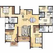 Prestige Falcon City Floor Plan 2172 Sqft. 3 BHK