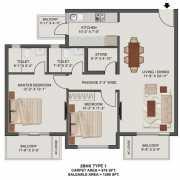 Tata New Haven Bahadurgarh Floor Plan 1296 Sqft. 2BHK + Small