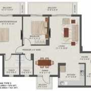 Tata New Haven Bahadurgarh Floor Plan 1521 Sqft. 2BHK + Large