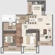 Paradise Sai World City Floor Plan 1265 Sqft. 2 BHK