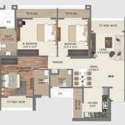 Paradise Sai World City Floor Plan 1735 Sqft. 3 BHK