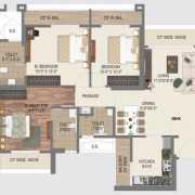 Paradise Sai World City Floor Plan 1780 Sqft. 3 BHK