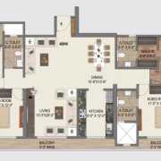 Paradise Sai World City Floor Plan 2775 Sqft. 4 BHK