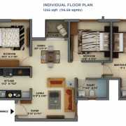 Mantri Energia Floor Plan 1255 Sqft. 3 BHK + 2T