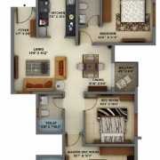 Mantri Energia Floor Plan 1355 Sqft. 3 BHK + 3T