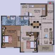 Purva Westend Floor Plan 1202 Sqft. 2 BHK