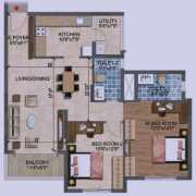 Purva Westend Floor Plan 1223 Sqft. 2 BHK