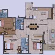 Purva Westend Floor Plan 1745 Sqft. 3 BHK