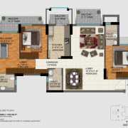 DLF Regal Gardens Floor Plan 1702 Sqft. 3 BHK