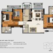 DLF Regal Gardens Floor Plan 1720 Sqft. 3 BHK
