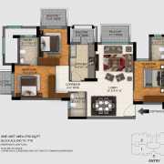 DLF Regal Gardens Floor Plan 1730 Sqft. 3 BHK