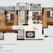 DLF Regal Gardens Floor Plan 1744 Sqft. 3 BHK