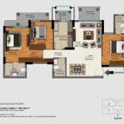 DLF Regal Gardens Floor Plan 1693 Sqft. 3 BHK