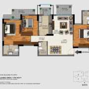 DLF Regal Gardens Floor Plan 1703 Sqft. 3 BHK