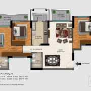 DLF Regal Gardens Floor Plan 1726 Sqft. 3 BHK