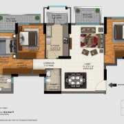 DLF Regal Gardens Floor Plan 1818 Sqft. 3 BHK