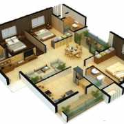 Pacifica Aurum Floor Plan 1441 Sqft. 3 BHK