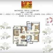 Prestige Sunrise Park Floor Plan 1342 Sqft. 2.5 BHK