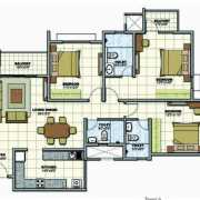 Prestige Sunrise Park Floor Plan 1571 Sqft. 3 BHK