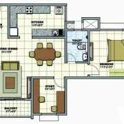 Prestige Sunrise Park Floor Plan 1039 Sqft. 2 BHK