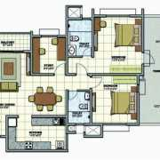 Prestige Sunrise Park Floor Plan 1431 Sqft. 2.5 BHK