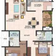 Brigade Meadows Floor Plan 1110 Sqft. 2 BHK (Plumeria)