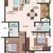 Brigade Meadows Floor Plan 1170 Sqft. 2 BHK (Plumeria)
