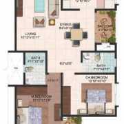 Brigade Meadows Floor Plan 1180 Sqft. 2 BHK (Wisteria)