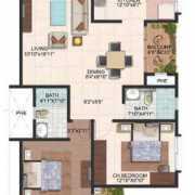 Brigade Meadows Floor Plan 1190 Sqft. 2 BHK (Plumeria)
