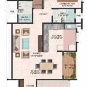Brigade Meadows Floor Plan 1300 Sqft. 2 BHK (Wisteria)