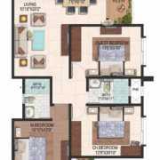 Brigade Meadows Floor Plan 1440 Sqft. 3 BHK + 2T (Plumeria)