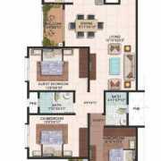 Brigade Meadows Floor Plan 1450 Sqft. 3 BHK + 2T (Wisteria)