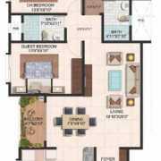 Brigade Meadows Floor Plan 1480 Sqft. 3 BHK + 2T (Plumeria)